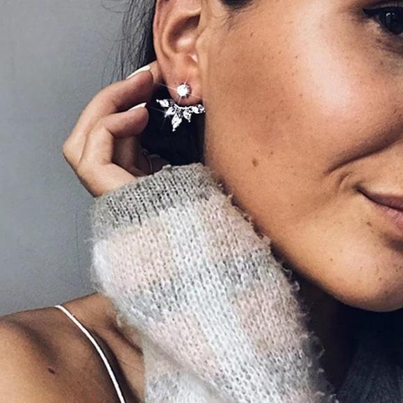 Lulu S Jewelry New Diamond Princess Floral Unique Stud Earrings Poshmark